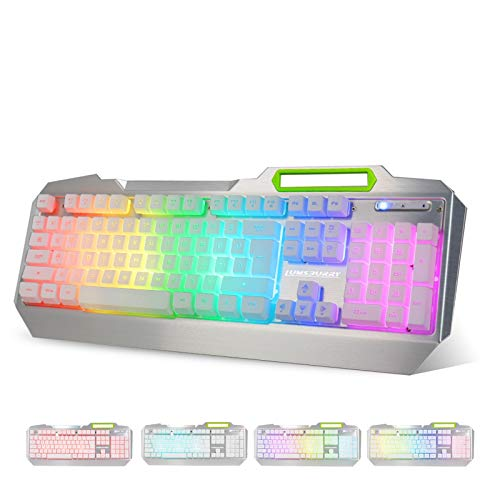 RGB LED Backlit Gaming Keyboard with Anti-ghosting, Light up Keys Multimedia Control, USB Wired Waterproof Metal Keyboard for PC Games Office (Silver&White)