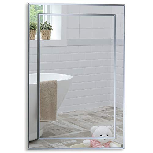 Precioso espejo de baño rectangular, moderno y...