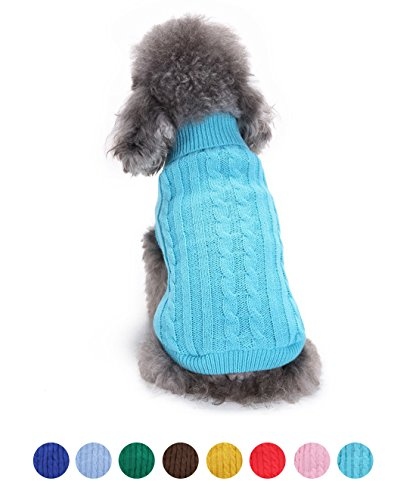 FishBabe Perro Llano Clásico Diseño Rayas Patrón Ropa Suéter De Punto Pequeñas Medianas Y Grandes Mascotas Calentar Invierno Ropa De Gato Jerséis Multicolor Opcional Azul Large