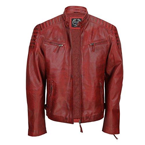 Chaqueta de piel suave para hombre, corte ajustado, chaqueta estilo biker con cremallera, retro, color marrón lavado Rojo rojo (Maroon) XXX-Large