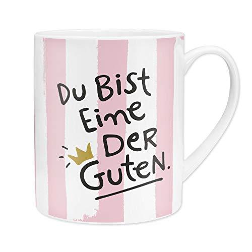 H:)PPY life 46246 XL Kaffee-Tasse Du bit eine der Guten, Porzellan, 60 cl, Geschenk Freundin, rosa