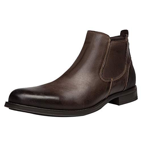ANUFER Hombres Genial Retro Piel Genuina Botines Chelsea Zapatos de Vestir Café SN01905 EU43