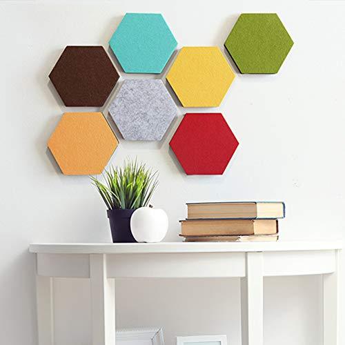 Juego de 7 tableros de fieltro hexagonales de corcho, tableros de notas autoadhesivos, para el hogar y la oficina, 7 colores