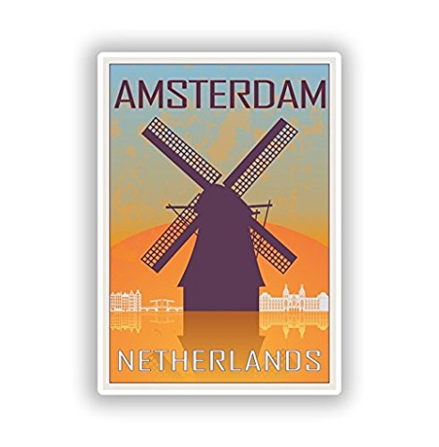 3 Pack - Amsterdam Netherlands Vinyl Stickers Travel Luggage - Sticker Graphic - Construction Toolbox, Hardhat, Lunchbox, Helmet, Mechanic, Luggage
