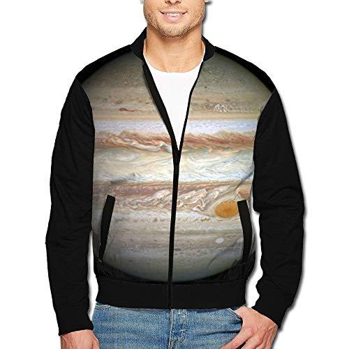 1Zlr2a0IG Men's Print Zip Front Jacket Jupiter Stand Collar Baseball Bomber Jacket Sleeve Coat