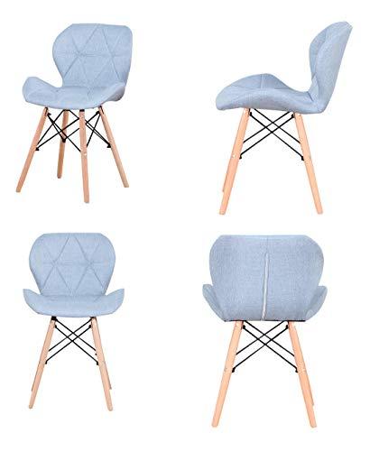 ZMALL Juego de 4 sillas de comedor tapizadas de lino con patas de madera, cojín suave para el hogar, restaurante, recepción, salón, sala de estar, esquina (azul)