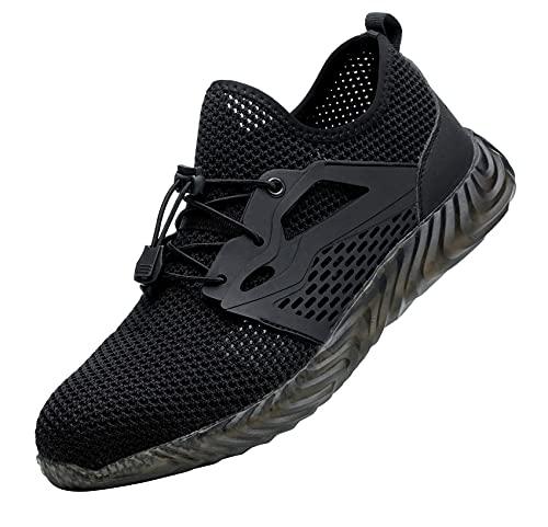 Zapatillas de Seguridad Hombre,Trabajo con Puntera de Acero Transpirable Reflectante Botas de Seguridad