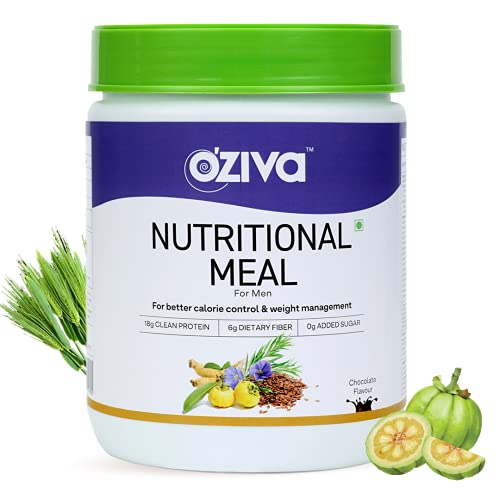 OZiva Nutritional Meal for Men (High in Protein with Ayurvedic Herbs like Ashwagandha, Ginseng, Flax Seeds, Pomegranate, Musli & Barley Grass) for Weight Management,Chocolate,500g
