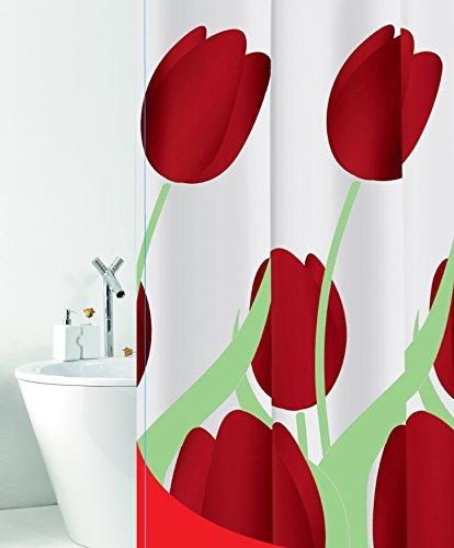 wohnideenshop Duschvorhang Tulipano weiß rot grün Tulpen 180cm breit x 200cm lang Textil mit Ringe