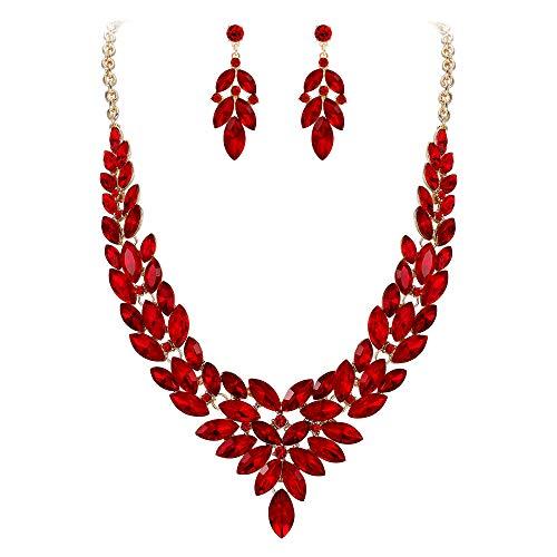 EVER FAITH Juegos de Joyas para Mujer Cristal Austríaco Boda V Figura Flor Hoja Rojo Tono Dorado Collares Pendientes Conjunto