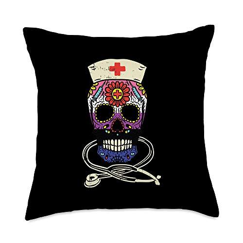 LGBT Pride Gifts - Almohada con relleno de almohada, diseño de calavera de azúcar para enfermera, bandera del orgullo mexicana, 18 x 18 pulgadas, multicolor