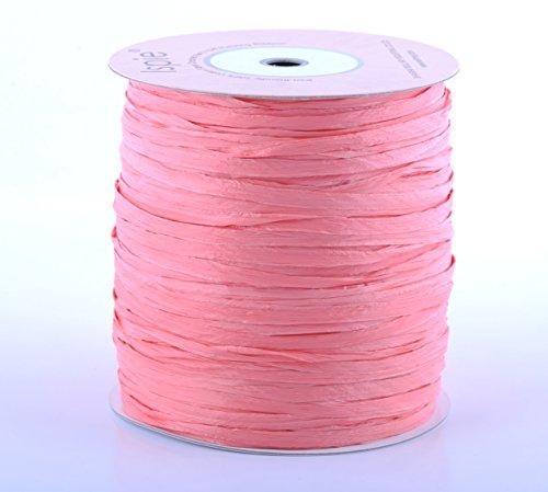 ISPIE Rayon Raffia Crochet Yarn 1/4' 270-Yard Extra Large Spool Coral