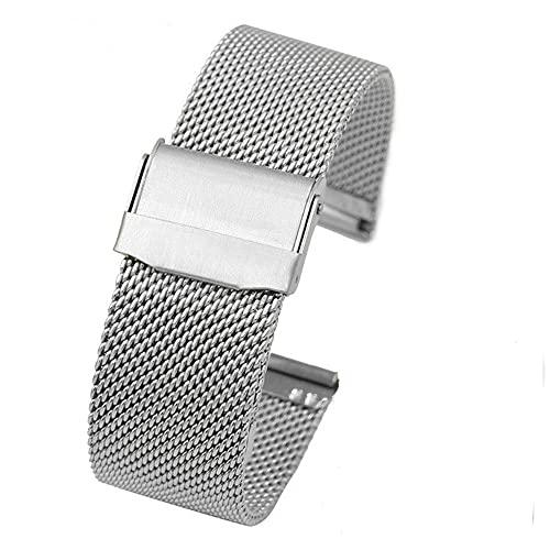 BINGHC 12mm 14mm 16 mm 18 mm 20 mm 22 mm Negro Plata Ultrafino Acero Inoxidable Malla Correa de Malla Banda de Relojes (Color : Silver, Size : 18mm)