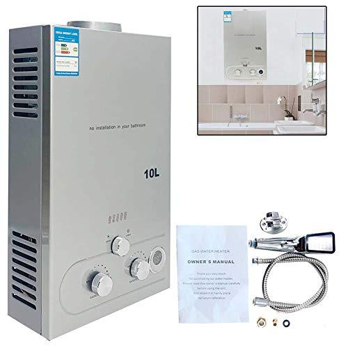 TABODD 10L 20KW - Calentador portátil de gas natural para ducha en exteriores, ducha, baño, agua caliente, camping, caballo, ducha, calentador de agua caliente, color plateado