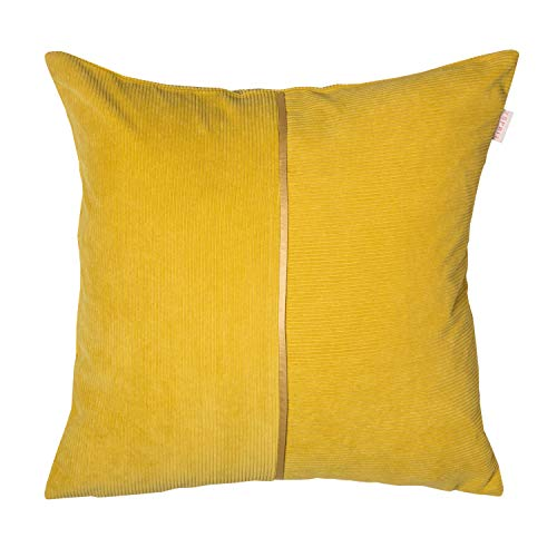 ESPRIT Cord Zierkissenhülle gelb • Kissenhülle 45x45 ohne Füllung • hochwertiger Kunstfaser Bezug • waschbarer Zierkissenbezug