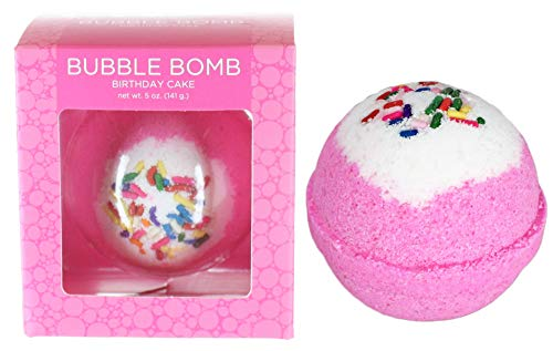 Birthday Cake BUBBLE Bath Bomb in Gift Box. USA Made Large Lush Spa Fizzy Handmade Gift Idea for Her, Wife, Girlfriend - Releases Pink Color, Cupcake Scent, and Bubbles in Bath – Dry Skin Moisturizing