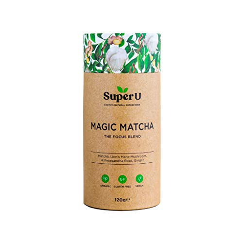 Super U Magic Matcha (60 Portionen) - Japanisches Matcha Pulver, Bio Matcha in Zeremonienqualität mit Löwenmähnenpilz, Ashwagandha und Ingwer für mehr Fokus und Produktivität. Bio zertifiziert