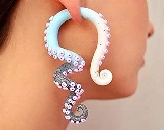 Tentacle Earrings Ear Plugs or Fake Plugs Ear Piercings Octopus Gauges, Color Fade Plugs, Tentacle Gauges, Ombre Earrings