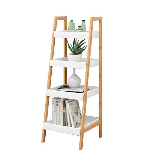 CFTGB Bloemenrek, bloementrap, bloemenstandaard, overkapping, opbergen, opbergen, vetplanten, bamboe, 4 graden legplank, voor tuin, woonkamer, balkon