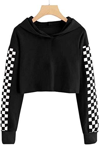 shirts tweens Kids Crop Tops Girls Sweatshirts Long Sleeve Plaid Hoodies