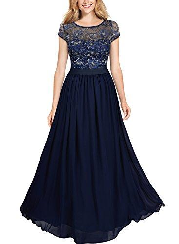Miusol Women's Vintage Scoop Neck Floral Lace Bridesmaid Wedding Maxi Dress