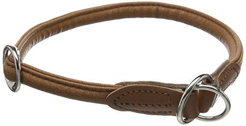 HONTER Ronde & Soft Elk rondgenaaide dressurhals voor honden, met bijzonder zacht elandleer, 60 (L-XL), cognac