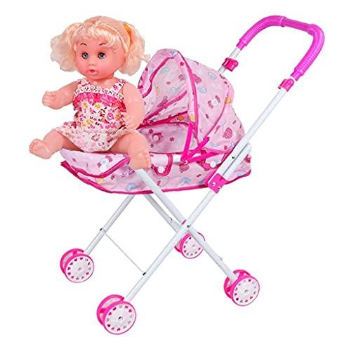 QUNHU Caminante para bebés con muñeca, Andador de Actividades para niños Mayores de 3 años, Cochecito Plegable para niñas y niños, Caminante/Cochecito de bebé/Cochecito de Juguete, Rosa