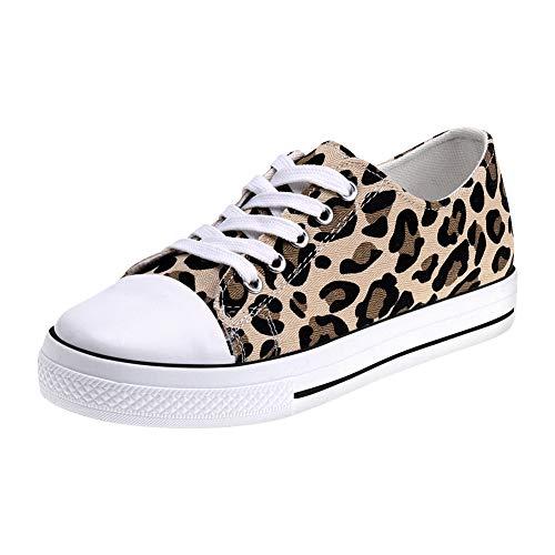 Padgene Zapatillas Canvas de Lona Unisex Mujer Hombre Estilo Casual Calzado Deportivo (35 EU, Patrón de Leopardo)