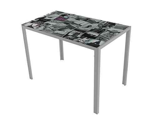 Mesa de cocina Suarez Cica, diseño Paris hecho de acero, 1 unidad, color plata, dimensiones 60 x 105 x 75 cm (H279-COP)