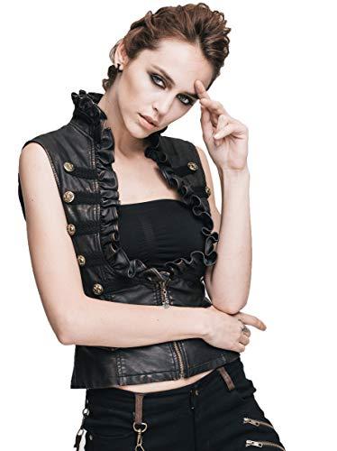 Devil Fashion Damen Gothic Mode PU Leder Westen,Steampunk Frauen Schwarz V Kragen Sexy Ärmellos...