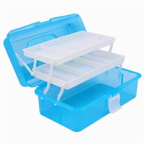 Zytang Caja de almacenamiento de caja de almacenamiento de tres capas de plástico Organizador de escritorio Caja de herramientas de arte para pintar herramienta Papelería Medicina Nail Art Supplies A