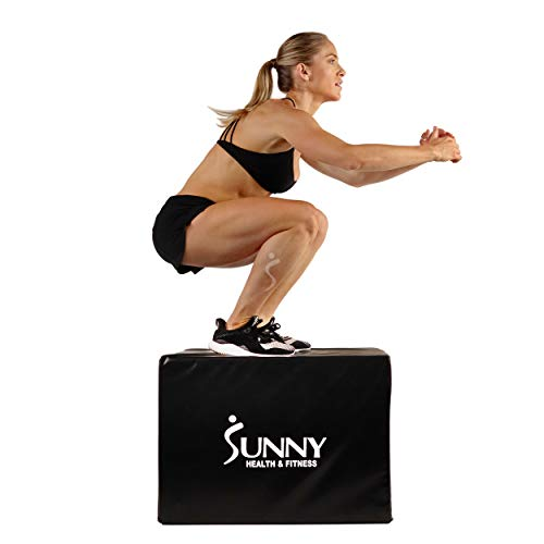 """Sunny Health & Fitness Plyo Box Jump Platform with Adjustable Heights 20""""/24""""/28"""" and Shock Absorbing Foam Cover, 3-in-1 Plyometric Jump Box - No. 072"""