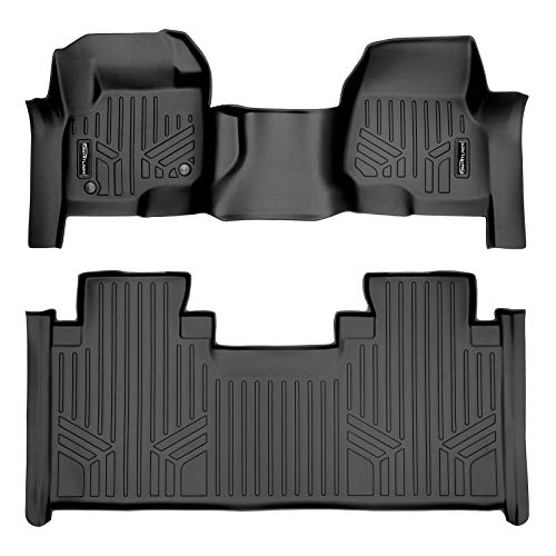 SMARTLINER Custom Floor Mats 2 Row Liner Set Black for 2017-2021 Ford F-250/F-350 Super Duty SuperCab with 1st Row Bench Seat