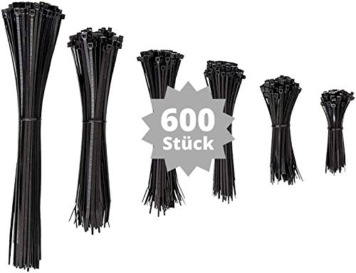 djb, extra hochwertige Profi Kabelbinder schwarz, Set, 600 Stück, Industrie-Qualität, Sortiment 80/100/130/160/200/300 mm