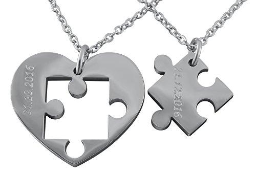 Hanessa Gravierte Puzzle Herz Kette mit Wunsch Gravur Silber Partner-ketten aus Edelstahl in silber Puzzle-Teil Anhänger Geschenk Schmuck für Paare Mann und Frau