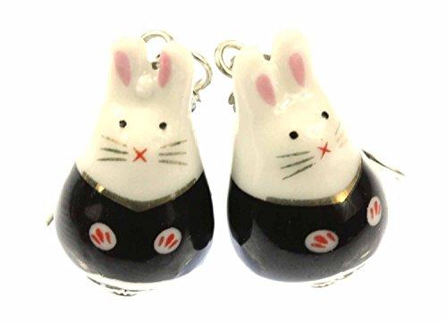 Miniblings Hase Ohrringe Hasenohrringe Häschen Kaninchen Osterhase Porzellan - Handmade Modeschmuck I Ohrhänger Ohrschmuck versilbert