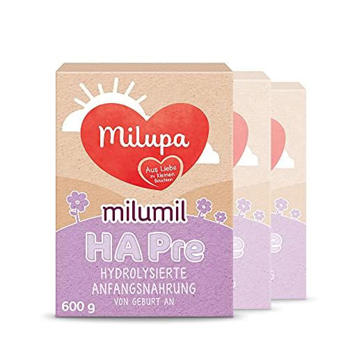 Milupa Milumil HA PRE, Babynahrung für allergiegefährdete Babys von Geburt an, Baby-Milchpulver (3 x 600 g)