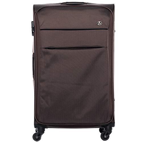 FERGÉ® Set di 3 valigie viaggio Calais - leggero bagaglio da 3 morbido tre pz. valigie con 4 ruote rotelle multidirezionali 360° blu