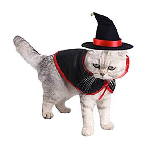 LAWOHO Pet Halloween Costume Set, 2 Piece Vampire Cloak Wizard Hat Halloween Christmas Holiday and...