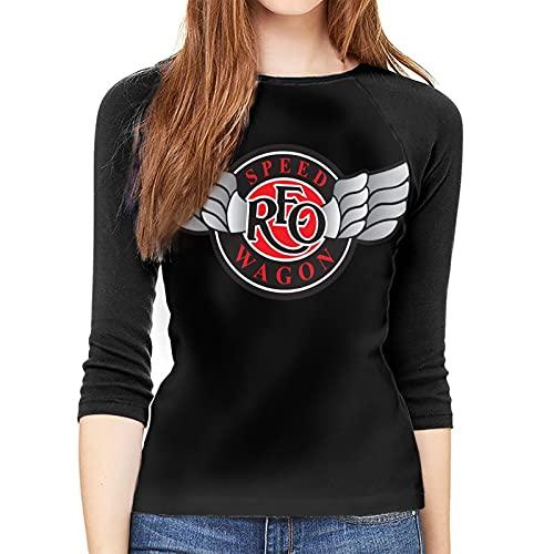 REO Speedwagon Logo T Shirt Womens 3/4 Graphic Baseball T-Shirts Raglan Sleeve Tops Black