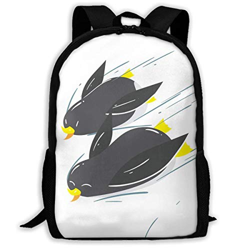 TTmom Zaini/Zaino Casual,Borse a Zainetto, Backpack Penguins Sliding On Winter Snow Zipper School Bookbag Daypack Travel Rucksack Gym Bag For Man Women