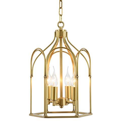 LFK Casa de estilo americano mansardado pequeña aldea 10 m2-15 m2 4 simple jaula de pájaros de cobre lámpara para estudio, decoración de escalera (color: metal Baking Varnish)