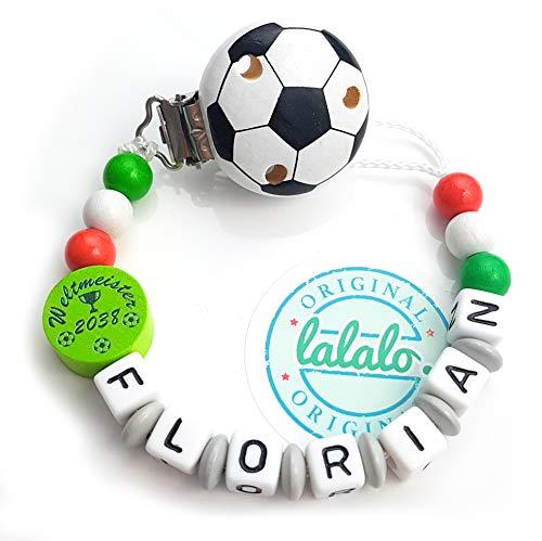 LALALO Schnullerkette Fußball mit Namen, Junge, Baby Fussball Motiv Weltmeister 2038 Italien aus Holz, Handmade Individuelle Jungs Namenskette zur Geburt, Geburtstag, Taufe (Grün Weiß Rot)