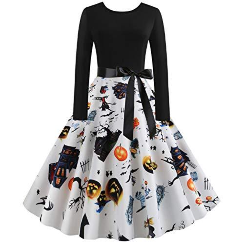Halloween Einteiler Kleid Kürbis Teufel Schloss Druck Kleid für Frauen Damen O-Ausschnitt Lange Ärmel Audrey Hepburn Rock Party Swing Kleid von Jessie, Orange, weiß, Large
