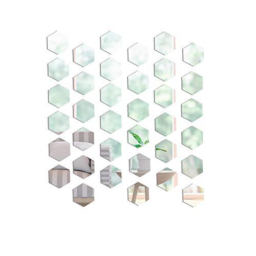 36 Pezzi Adesivo da Parete a Specchio Mini Esagonale, Mini Adesivi Murali Specchio Autoadesivo per Acrilico, per la Decorazione della Parete della Camera da Letto del Soggiorno della Famiglia (8×7cm)