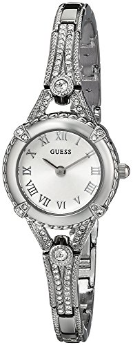 GUESS Petite Silver-Tone Crystal Bracelet Watch with Self-Adjustable Links. Color: Silver-Tone (Model: U0135L1)