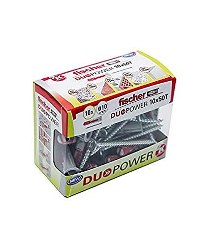fischer - Taco DuoPower 10X50 con tornillos, tacos para pared, tacos universales, tacos para hormigón, caja de 10 unidades.