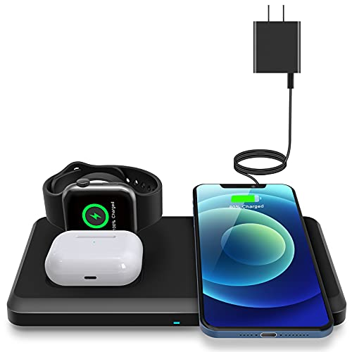 Wireless Charger, ETEPEHI Wireless Charging Station Compatible with iPhone 12/12 Pro/11/11 Pro/SE/XS Max/XR/X/8,iWatch se/6/5/4/3/2, AirPods 2/ Pro, Wireless Charging Pad for Samsung S20 with Adapter