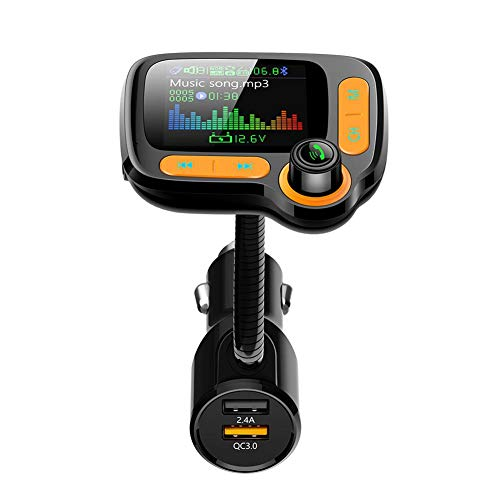 Renoble FM Sender Bluetooth Wireless 5.0 MP3 Player Radio Adapter Audio Empfänger Stereo Music Tuner Modulator Car Kit Mit USB Ladegerät Freisprecheinrichtung Schnellladegerät Audio Empfänger