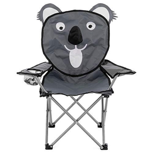 Nexos Kinder Campingstuhl Kinderstuhl Klappstuhl Gartenstuhl Strandstuhl Faltstuhl Sonnenstuhl mit Sicherung Getränkehalter Tragetasche lustiges Tiermotiv wählbar (Koala)